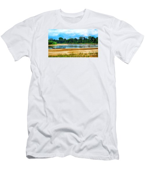 Wooden Boat In Backwaters Jungle Men's T-Shirt (Athletic Fit)