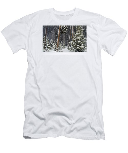 Woodland Snowstorm In Yellowstone Men's T-Shirt (Athletic Fit)