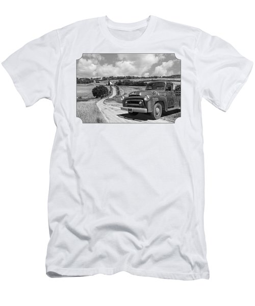 Down On The Farm- International Harvester In Black And White Men's T-Shirt (Athletic Fit)