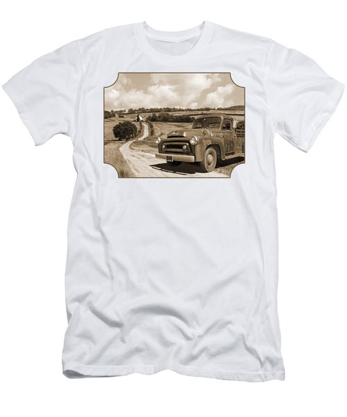 Down On The Fram - International Harvester In Sepia Men's T-Shirt (Athletic Fit)