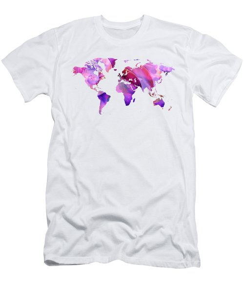 World Map 20 Pink And Purple By Sharon Cummings Men's T-Shirt (Athletic Fit)