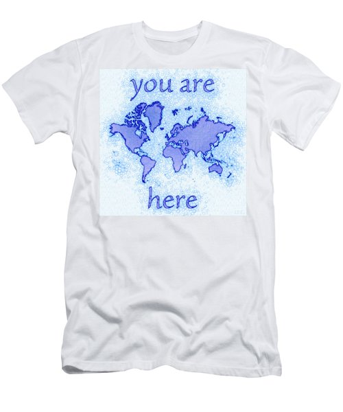 World Map Airy You Are Here In Blue And White Men's T-Shirt (Slim Fit) by Eleven Corners