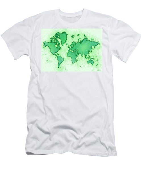 World Map Airy In Green And White Men's T-Shirt (Slim Fit) by Eleven Corners