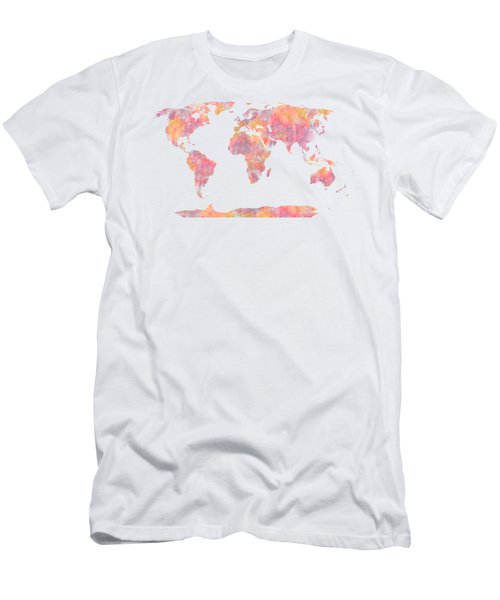 World Map Watercolor Painting Men's T-Shirt (Athletic Fit)