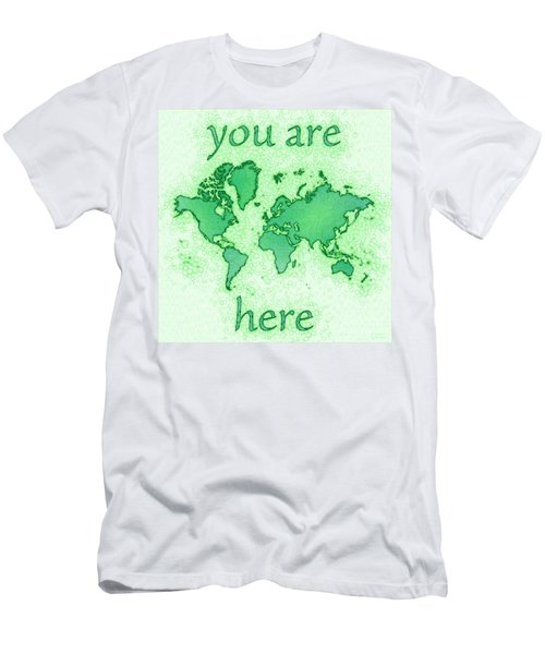 World Map You Are Here Airy In Green And White Men's T-Shirt (Athletic Fit)