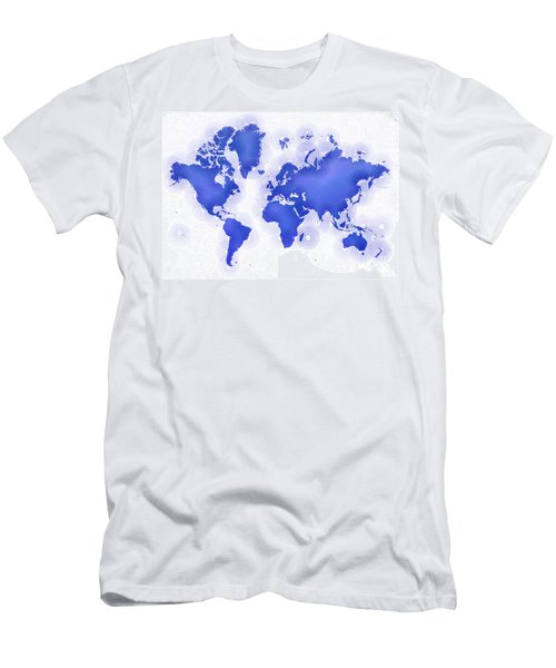 World Map Zona In Blue And White Men's T-Shirt (Athletic Fit)