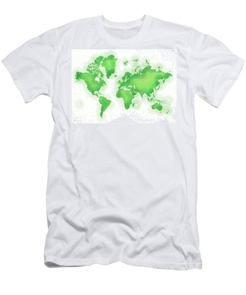 World Map Zona In Green And White Men's T-Shirt (Athletic Fit)