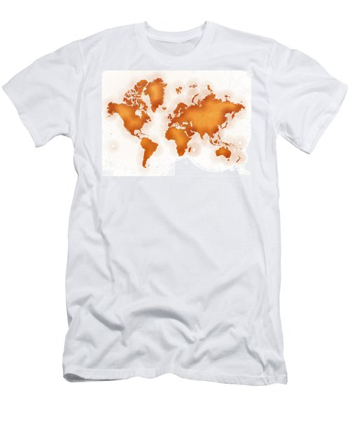 World Map Zona In Orange And White Men's T-Shirt (Athletic Fit)