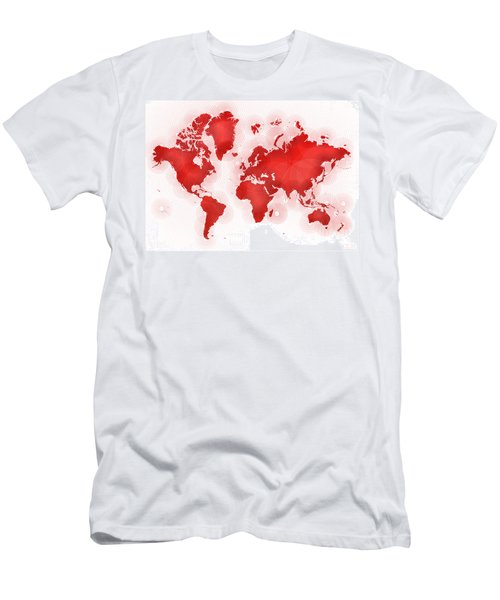 World Map Zona In Red And White Men's T-Shirt (Slim Fit) by Eleven Corners