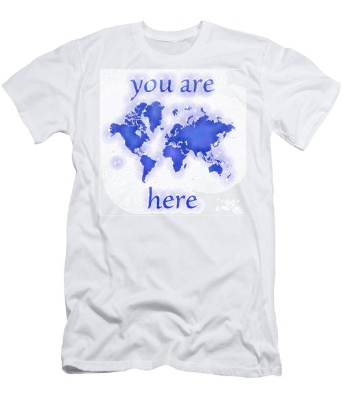 World Map Zona You Are Here In Blue And White Men's T-Shirt (Athletic Fit)