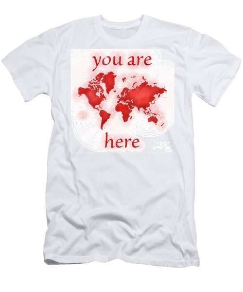 World Map Zona You Are Here In Red And White Men's T-Shirt (Athletic Fit)