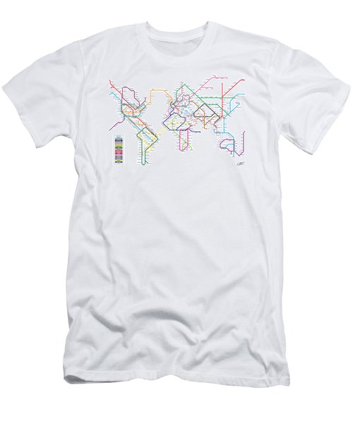 World Metro Tube Subway Map Men's T-Shirt (Athletic Fit)