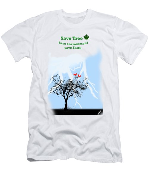World With Tree Men's T-Shirt (Athletic Fit)