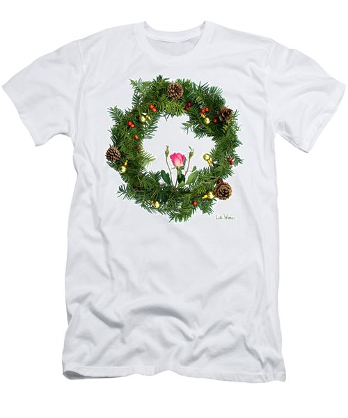 Wreath With Rose Men's T-Shirt (Slim Fit) by Lise Winne
