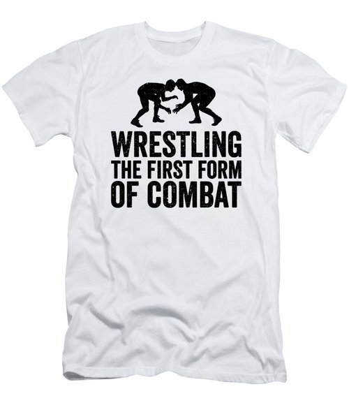 Wrestling First Form Of Combat Silhouette Black Gift Dark Men's T-Shirt (Athletic Fit)