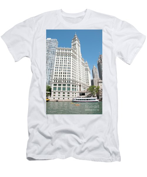 Wrigley Building Overlooking The Chicago River Men's T-Shirt (Athletic Fit)