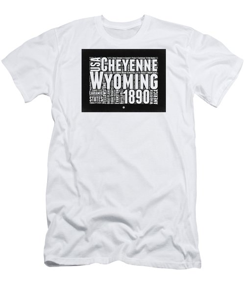 Wyoming Black And White Word Cloud Map Men's T-Shirt (Athletic Fit)