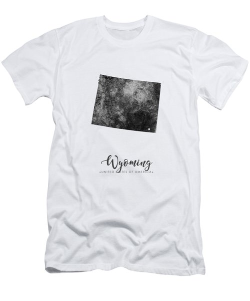 Wyoming State Map Art - Grunge Silhouette Men's T-Shirt (Athletic Fit)