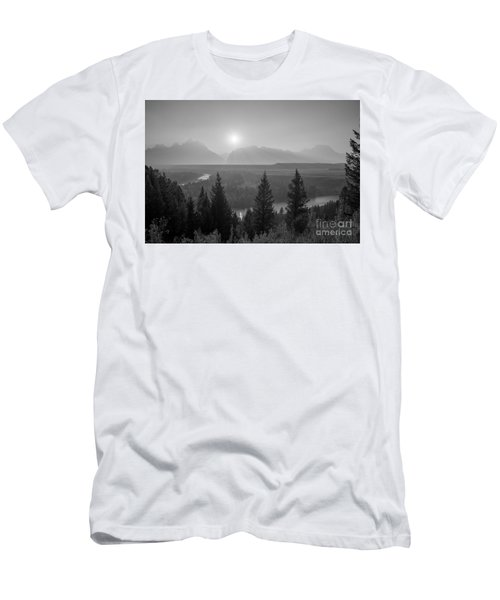Wyoming Sunset At Snake River Bw Men's T-Shirt (Athletic Fit)