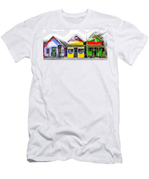 Men's T-Shirt (Athletic Fit) featuring the photograph Yacht Street Cape May In Technicolor by Bill Cannon