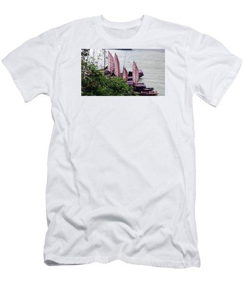 Men's T-Shirt (Slim Fit) featuring the photograph Yangtze Boats by Vicky Tarcau