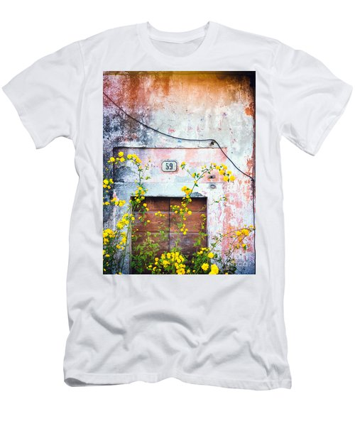 Yellow Flowers And Decayed Wall Men's T-Shirt (Athletic Fit)