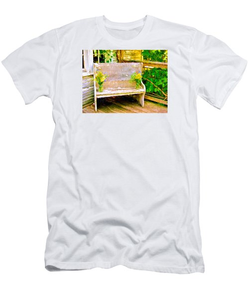 Yellow Flowers On Porch Bench Men's T-Shirt (Slim Fit)