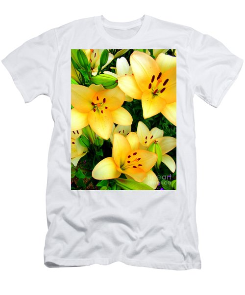 Men's T-Shirt (Slim Fit) featuring the photograph Yellow Lilies 3 by Randall Weidner