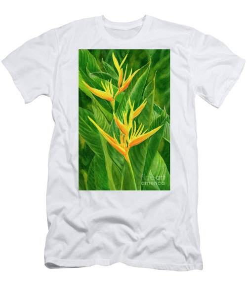 Yellow Orange Heliconia With Leaves Men's T-Shirt (Athletic Fit)