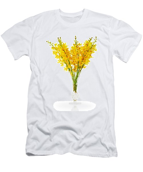 Yellow Orchid In Crystal Vase Men's T-Shirt (Slim Fit) by Atiketta Sangasaeng