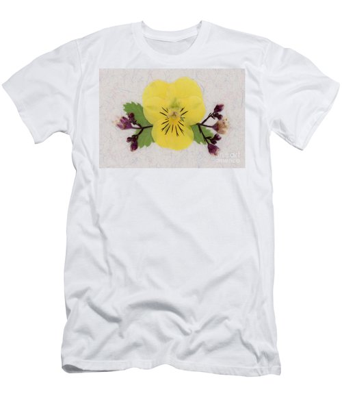 Yellow Pansy And Coral Bells Pressed Flowers Men's T-Shirt (Athletic Fit)
