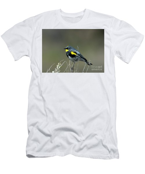 Men's T-Shirt (Slim Fit) featuring the photograph Yellow-rumped Warbler by Mike Dawson