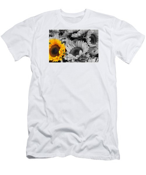 Yellow Sunflower On Black And White Men's T-Shirt (Slim Fit)