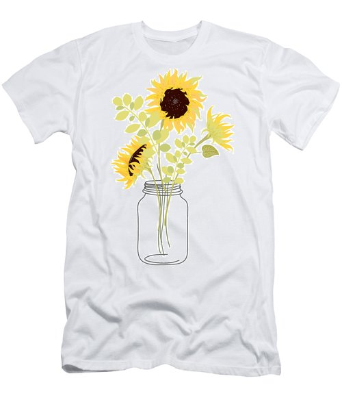 Yellow Sunflowers In Jar Vase Men's T-Shirt (Athletic Fit)