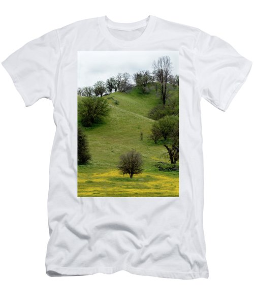 Men's T-Shirt (Slim Fit) featuring the photograph Yellow Wildflowers And Oak Trees by Roger Mullenhour