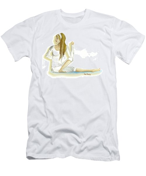 Men's T-Shirt (Slim Fit) featuring the painting Yoga Girl by Anne Beverley-Stamps