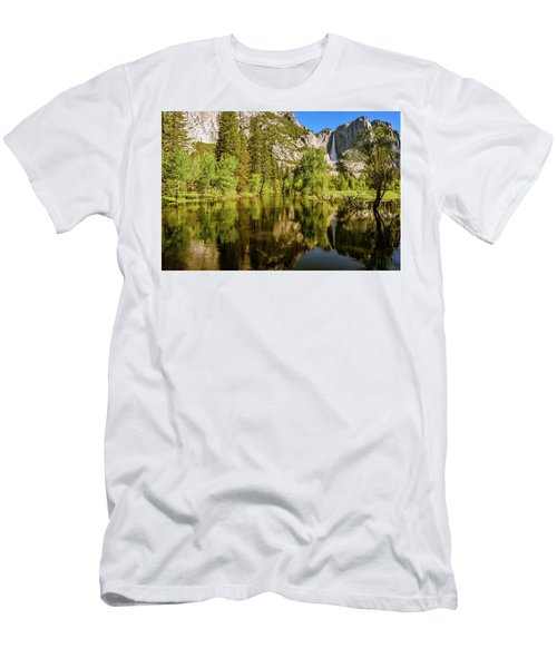 Men's T-Shirt (Athletic Fit) featuring the photograph Yosemite Reflections On The Merced River by John Hight