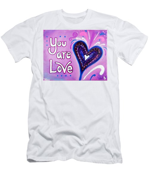 Men's T-Shirt (Athletic Fit) featuring the painting You Are Love Purple Heart by Bob Baker and Pooki Lee