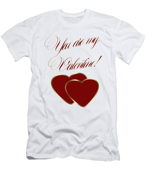 Men's T-Shirt (Slim Fit) featuring the painting You Are My Valentine Digital Typography by Georgeta Blanaru