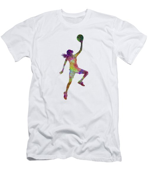 Young Woman Basketball Player 02 In Watercolor Men's T-Shirt (Slim Fit) by Pablo Romero