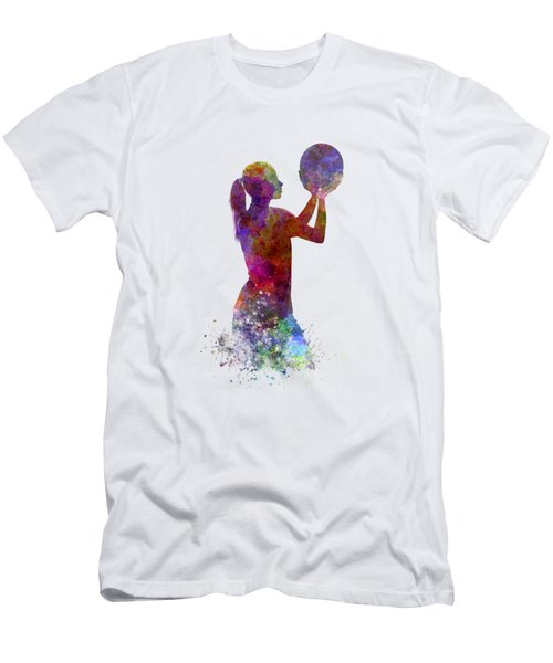 Young Woman Basketball Player 03 In Watercolor Men's T-Shirt (Slim Fit) by Pablo Romero