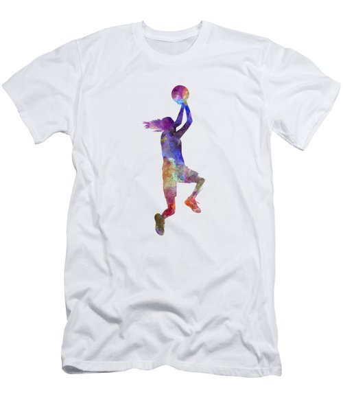 Young Woman Basketball Player 05 In Watercolor Men's T-Shirt (Slim Fit) by Pablo Romero