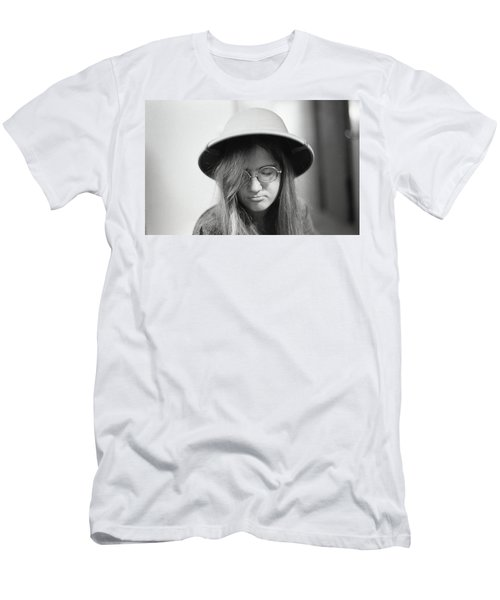 Young Woman With Long Hair, Wearing A Pith Helmet, 1972 Men's T-Shirt (Athletic Fit)