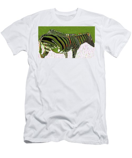 Men's T-Shirt (Athletic Fit) featuring the photograph Zany Zebra - Digitally Modified Photograph by Merton Allen