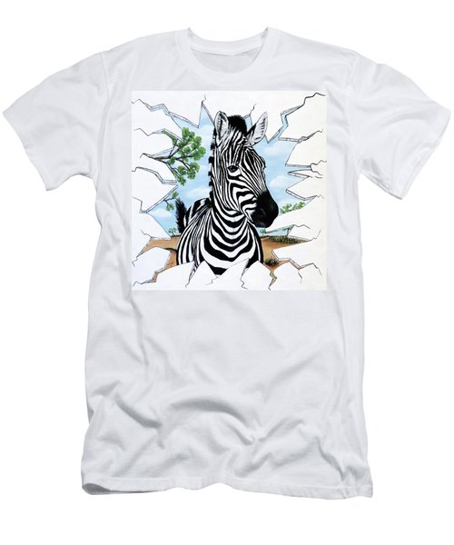 Men's T-Shirt (Slim Fit) featuring the painting Zany Zebra by Teresa Wing