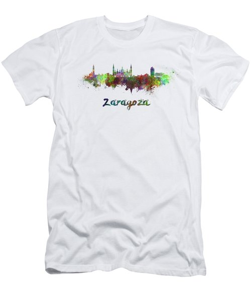 Zaragoza Skyline In Watercolor Men's T-Shirt (Athletic Fit)