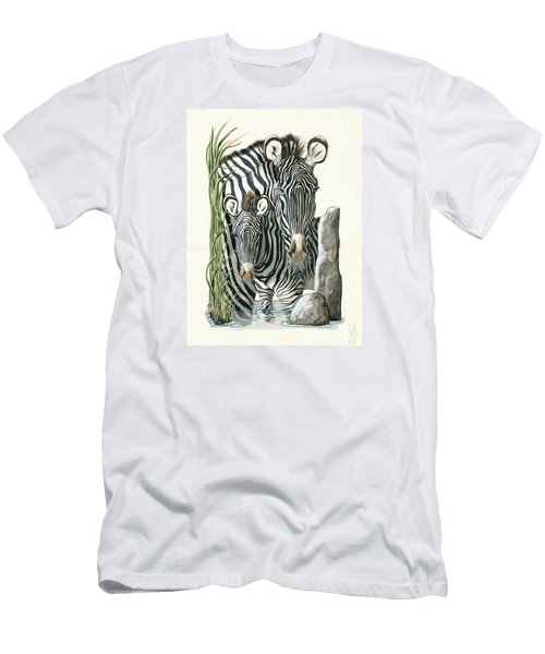 Zebra Mother And Colt Protect Our Children Painting Men's T-Shirt (Athletic Fit)
