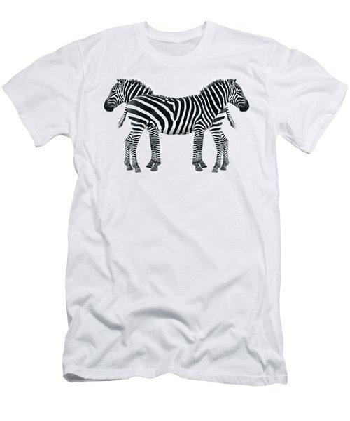 Zebra Pair On Black Men's T-Shirt (Athletic Fit)