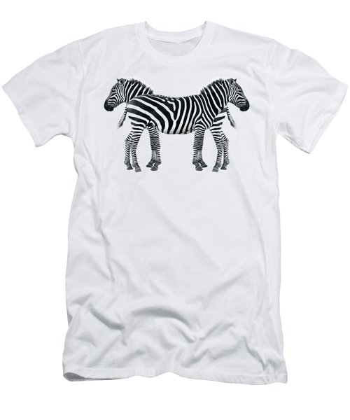 Zebra Pair On Black Men's T-Shirt (Athletic Fit)