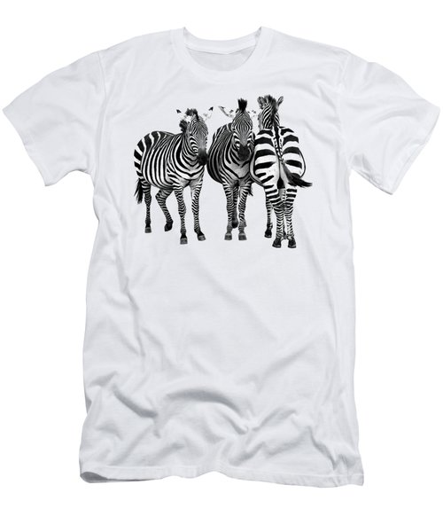 Zebra - Three's A Crowd Men's T-Shirt (Athletic Fit)